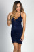"""Lanaya"" Navy Blue Strappy Racer Back Empire Waist Lace Dress"
