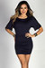 """Hannah"" Navy Dolman Sleeve Ruched Jersey Dress"