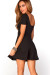 """Brynn"" Black A-Line Empire Waist Casual Short Sleeve Dress"