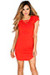 """Livia"" Poppy Red Short Sleeve Tunic Sexy Lace Up T Shirt Dress"