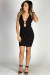 """VIP List"" Black Sexy Plunging Neckline Short Bodycon Sheath Cocktail Dress"