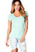 """Toni"" Mint Green Fitted V Neck Womens T Shirt"