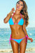 Tokyo Aqua Blue & Pink Triangle Top & Single Rise Sexy Polka Dot Bikini