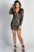 """Charlize"" Gold Sequin Diamond Pattern Long Sleeve Mini Dress"