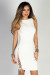 """""""Love Yourself"""" White Ribbed Knit Lace Up Detail Open Back Sleeveless Dress"""