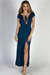 """Wait For It"" Deep Teal Short Sleeve Lace Up V Neck Maxi Dress"