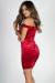 """My Valentine"" Red Off Shoulder Ruched Velvet Dress"
