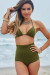 Olive Triangle Top & Retro Sexy High Waist Scrunch Bottom Bikini