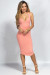 """Elin"" Peach Notch Front Jersey Racerback Tank Midi Dress"