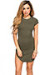 """Ciara"" Olive Ribbed Jersey Short Sleeve Bodycon Casual Tunic Dress"