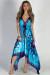 """Mimosas & Sunshine"" Turquoise Print Scarf Dress"