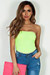 """Yoga"" Neon Yellow Tube Top Bodysuit"