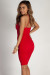 """Send The Location"" Red Crepe Criss Cross Sweetheart Dress"