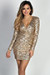 """Allegra"" Gold Geo Sequin V Neck Long Sleeve Wrap Dress"