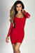 """Lexis"" Red Mesh Long Sleeve Strappy Cut Out Cocktail Dress"