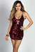 """Serendipity"" Red Sequin Diamond Pattern Strappy Mini Dress"