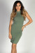 """Aim High"" Sage Bodycon Ribbed Jersey High Halter Neckline Mini Dress"