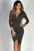 """Yasmina"" Olive 3/4 Sleeve Faux Wrap Deep V Midi Dress"