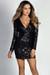 """Allegra"" Black Geo Sequin V Neck Long Sleeve Cocktail Dress"