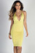 """Miss Thing"" Yellow Plunging V Neck Backless Midi Halter Cocktail Dress"