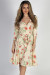 """""""Well Dressed"""" Cream Floral 3/4 Sleeve A Line Wrap Dress"""