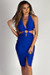 """Boo'd Up"" Royal Blue Open Back Buckle Cut Out Midi Dress"