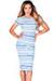 """Jamie"" Blue Tribal Print Short Sleeve Bodycon T Shirt Midi Dress"