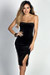 """Miracle"" Black Velvet Strapless Bodycon Midi Dress"