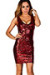 """Tina"" Red Sleeveless Fitted Sequin Party Dress"