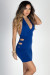 """Turn It Up"" Royal Deep V Halter Cut Out Club Dress"