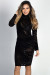 """Antonia"" Black Long Sleeve Turtleneck Sheer Burnout Velvet Dress"