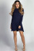 """Seda"" Navy Mockneck Long Sleeve Trapeze Dress"