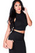 """London"" Black Jersey Sleeveless High Neck Fashion Crop Top"