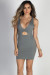 """You Love Me"" Grey Deep V Bodycon Cut Out Mini Dress"