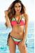 Zuma Mint & Neon Coral Triangle Top & Scrunch Bottom Sexy Color Block Swimwear