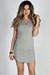 """Livia"" Heather Gray Short Sleeve Tunic Sexy Lace Up T Shirt Dress"