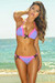 Orlando Lilac & Neon Pink Sweetheart Lace Triangle Top Scrunch Bottom Swimsuit