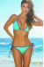 Tokyo Mint Green & Black Triangle Top & Single Rise Sexy Polka Dot Bikini