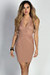 """""""Raeanne"""" Taupe Sleeveless Plunging Lace Cut Out Cocktail Dress"""