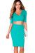 """Traci"" Mint Green 3/4 Sleeve V Neck Crop Top & Pencil Skirt 2 Piece Dress"