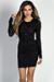 """Rita"" Black Long Sleeve Studded Mesh Sheer Top Mini Dress"