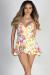 """Hamptons Summer"" Yellow Floral Print Romper Mini Dress"