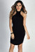 """Aim High"" Black Bodycon Ribbed Jersey High Halter Neckline Mini Dress"