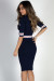 """Patriot Games"" Navy Half Sleeve Contrast Stripe Midi Sweater Dress"