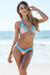 Maui Salmon & Baby Blue Triangle Top Scrunch Bottom Sexy Lace Bikini Swimsuit