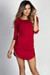"""Alaya"" Red 3/4 Sleeve T-Shirt Tunic Dress"