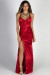 """Queen of Hearts"" Red Satin Thigh High Slit Maxi Gown"