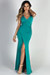 """Hollywood"" Jade Glamorous Backless Evening Gown with Thigh High Slit"