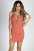 """Wild Heart"" Terra Cotta Plunging Deep V Strappy Backless Mini Dress"