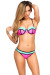 """Forever Your Girl"" Neon Pink & Mint Retro Color Block Push Up Bikini Set"